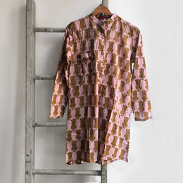 Short Leopard Kurta in Light Pink