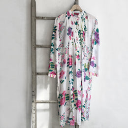 Long Pleated Floral Kurta in White
