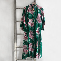 Long Open Floral Kurta in Green