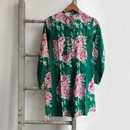 Short Floral Kurta in Green