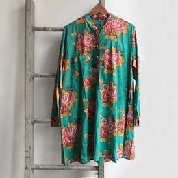 Short Floral Kurta in Teal