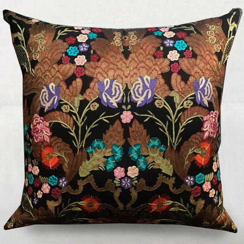 Vintage Silk Embroidered Pillow