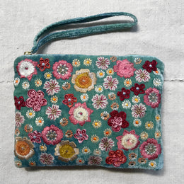 Beauty Embroidered Silk Velvet Cosmetic Zipper Pouch in Shaded Lagoon