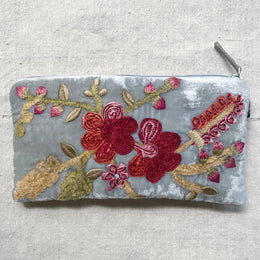 Hope Embroidered Silk Velvet Cosmetic Zipper Pouch in Heavenly Blue