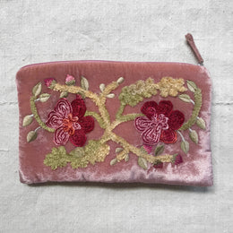 Hope Embroidered Silk Velvet Cosmetic Zipper Pouch in New Rose