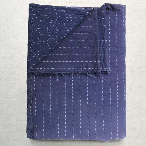 Khadi & Co. Queen Stitched Indigo Quilt