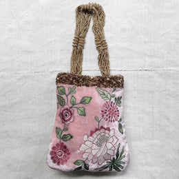 Bouquet Embroidered Silk Velvet Crossbody Bag with Beaded Handles in Old Rose