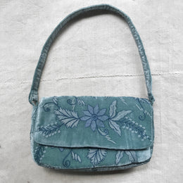 Doreen Embroidered Silk Velvet Shoulder Bag in Ocean