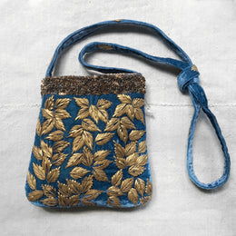 Enny Embroidered Silk Velvet Crossbody Bag in Riviera Blue