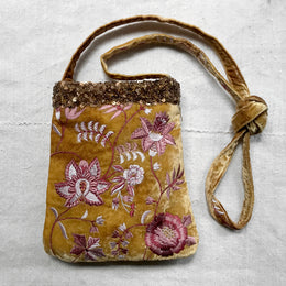 Madame Bovary Embroidered Silk Velvet Crossbody Bag in Shaded Oro