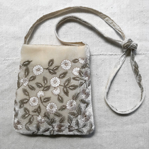 Moira Embroidered Silk Velvet Crossbody Bag in Ivory