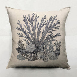 Coral in Navy Pillow