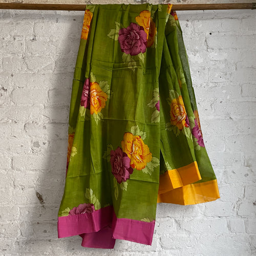 Lisa Corti Organdy Sarong Panel in Big Flower Green 110 x 180cm