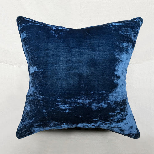 Silk Velvet Cushion in Cobalt