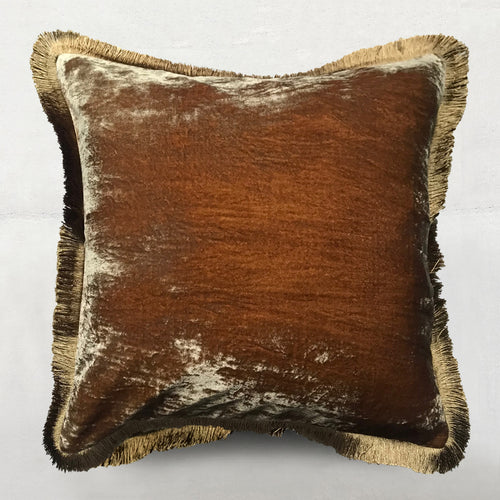 Gold Bronze Silk Velvet Cushion with Fringe