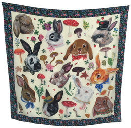 """Heads of Rabbits Pale Yellow"" Silk Scarf"