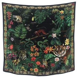"""Jungle Black"" Silk Scarf"