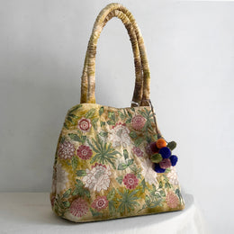 Bouquet Silk Velvet Travel Tote Bag in Shaded Yellow