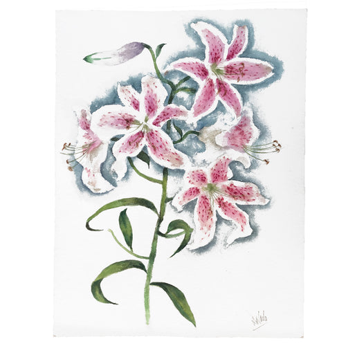 Mid-20th Century Charles De Carlo Lily Watercolor Painting