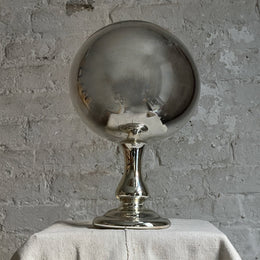 Antique Mercury Glass Butlers Mirror Globe