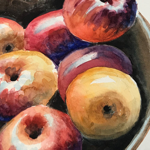 Mid-20th Century Charles De Carlo Bowl of Apples Watercolor Painting