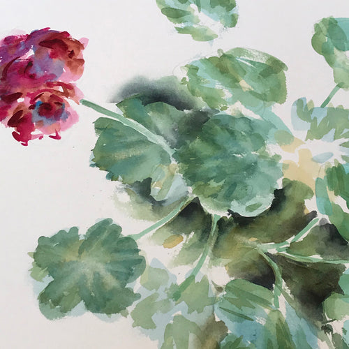 Mid-20th Century Charles De Carlo Geraniums Watercolor Painting