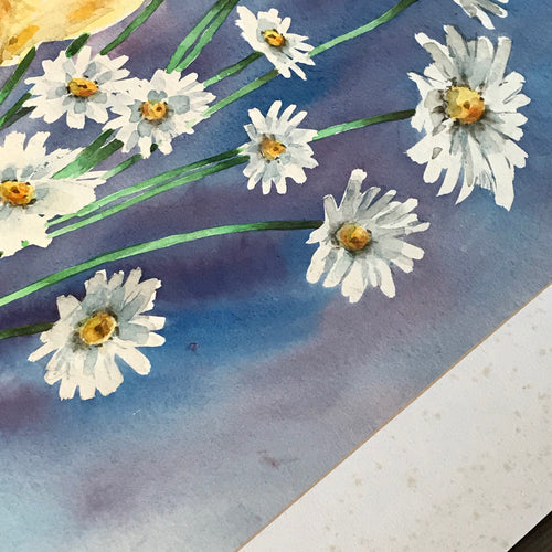 "Mid-20th Century Charles De Carlo Watercolor Painting ""Daisies"""