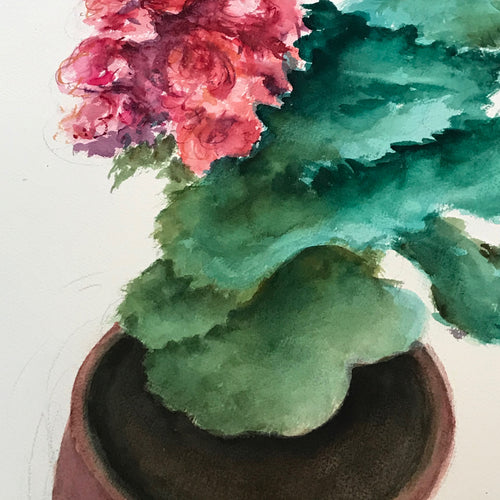 Mid-20th Century Charles De Carlo Flower Pot Watercolor Painting