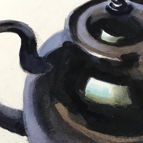 Mid-20th Century Charles De Carlo Teapot with Rose Watercolor Painting