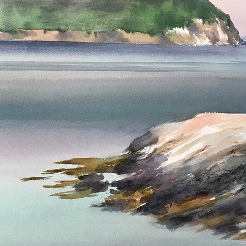 Mid-20th Century Charles De Carlo Seascape Watercolor Painting