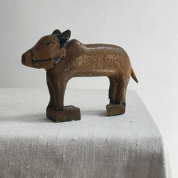 Antique Carved Wooden Cow 3