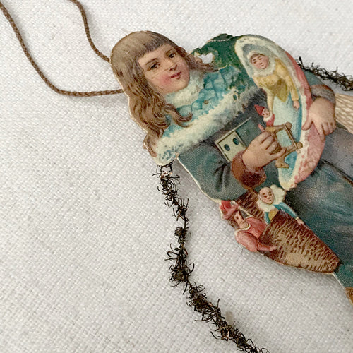 Antique Victorian Girl with Toys Ornament