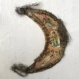Antique Victorian Crescent Moon with Angels Ornament
