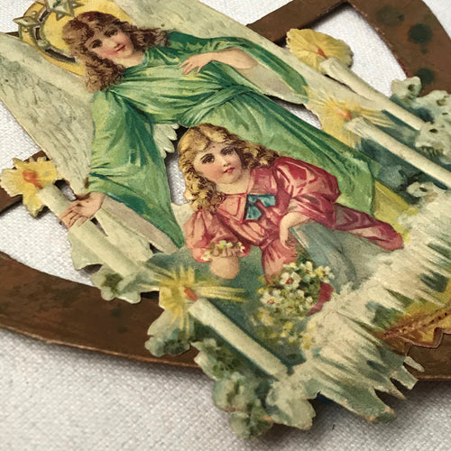 Antique Victorian Angel in Heart Pair