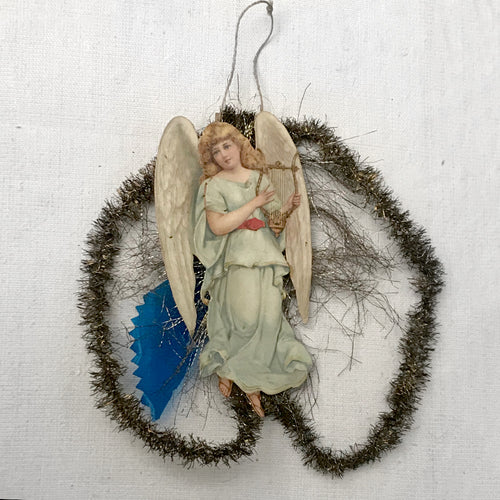 Antique Victorian Angel with Harp Ornament