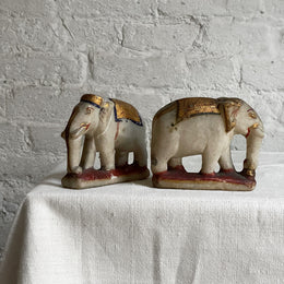 Antique Stone Carved Elephant Pair