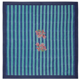 Issimo x Lisa Corti Panel in Bougainvillea Stripes Blue-Green 180 x 180cm