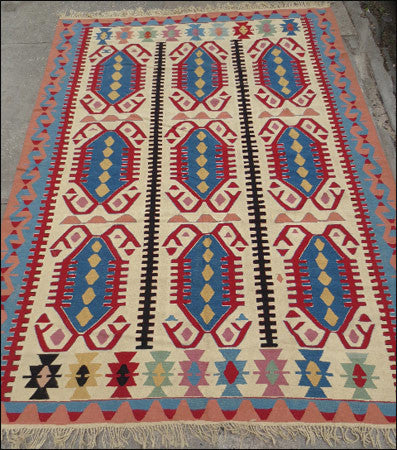 "LM 7'7"" x 10'1"" Vintage Turkish Kilim"