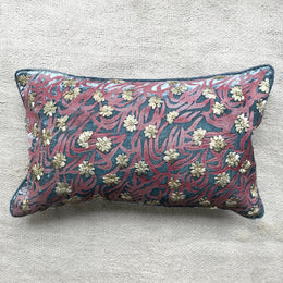 Lilian Silk Velvet Cushion in Heavenly Blue