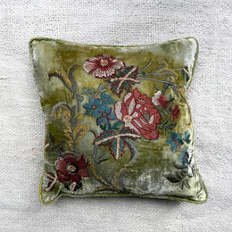 Lola Silk Velvet Cushion in Shaded Mint