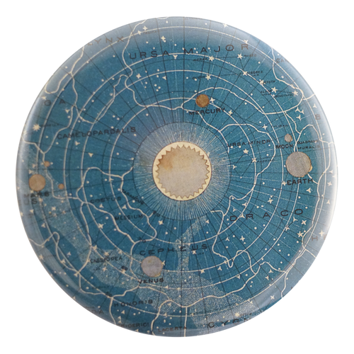 Blue Universe handmade decoupage item available in a pocket mirror, magnet, button pin or bottle opener