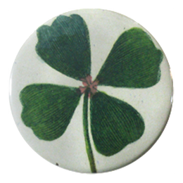 Clover handmade decoupage available is a pocket mirror, magnet, button pin and bottle opener