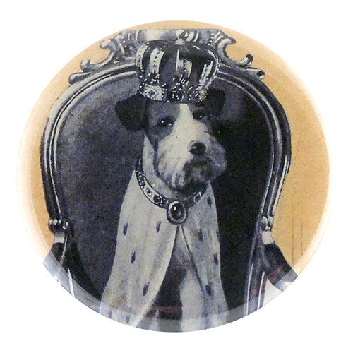 Crowned dog available in Pocket Mirror, Magnet, Button Pin or Bottle Opener