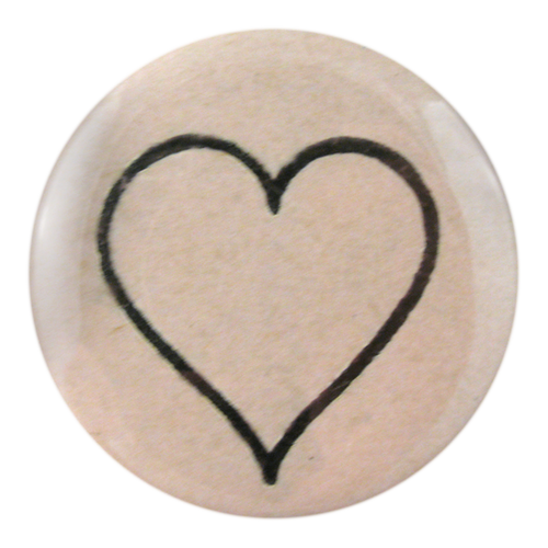 Line Heart handmade decoupage available as a pocket mirror, button pin or bottle opener
