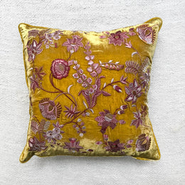 Madame Bovary Silk Velvet Cushion in Citronella