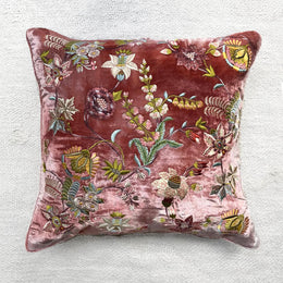 Madame Bovary Silk Velvet Cushion in Shaded Rose