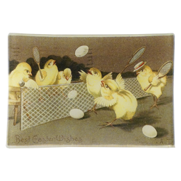 Best Easter Wishes with chicks playing tennis with eggs