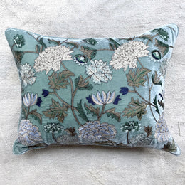 Milva Silk Velvet Cushion in Ocean