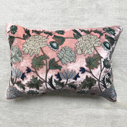 Milva Silk Velvet Cushion in Old Rose