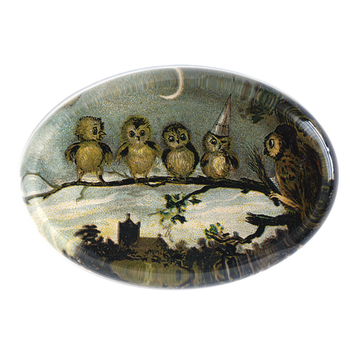 Night Class made by handmade decoupage in an oval paperweight